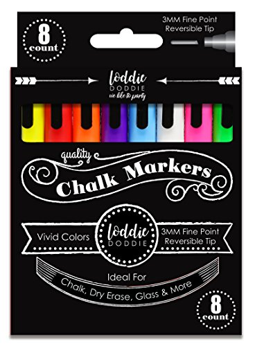 Loddie Doddie 8ct FINE POINT (3mm) Chalk Markers- VIVID Colors for use on Chalk, Dry Erase and Glass surfaces