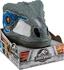Get ready for thrilling action and adventure with Jurassic World! Based on the fan favorite movie character, Velociraptor Blue, this Chomp 'n Roar Mask features realistic details like skin texture and color, teeth and eyes that move inward to...