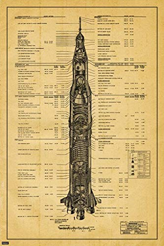 US Space Program Saturn V Launch Vehicle Patent Blueprint Engineering Technical Drawing Schematic Home Decor Print Poster 24x36