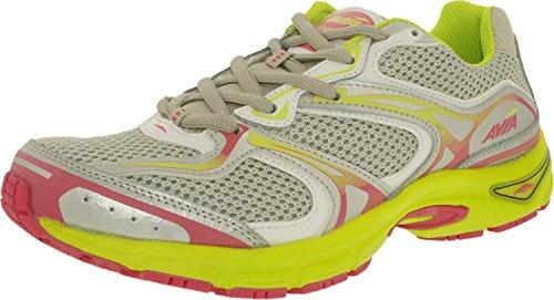 AVIA Women's Endeavor Running Shoe, Chrome Silver/White/Yellow Glow/Hot Pink, 8.5 M US