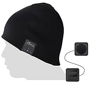 Bluetooth Beanie Music Hat ,Coeuspow V4.1 Wireless Smart Beanie Music Cap with HD Stereo Speaker ,Built-in Mic & CVC 6.0 Noise cancelling Microphone for Running Skiing Skating Christmas Gift-Black