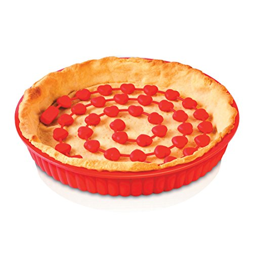 ZEAL Fuss Free Silicone Pie Weights - Chain - For Baking Pie Crusts - Heat Resistant to 482°F (Red) (Pie Crust Chain Weight)