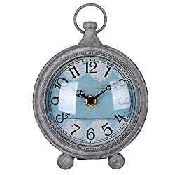 NIKKY HOME Vintage Pewter Quartz Round Table Clock with Handle 4.75'' by 2.12'' by 6.12'', Grey