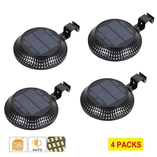 Solar PIR Motion Sensor 12 LED Security Lights Waterproof Light Lamp Wireless Area Light Auto DIM Mode Step Lighting Dusk to Dawn Night Light Patio Garden Path (Round Black-4Pcs)