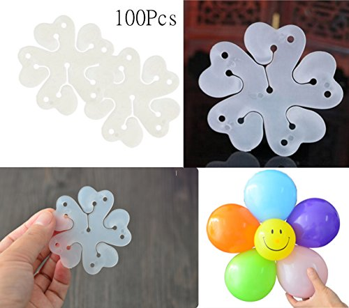 100 Pack Sc0nni Portable 5 In 1 Flower Shape Balloon Clips Holder for Wedding Birthday Party Holiday Decoration
