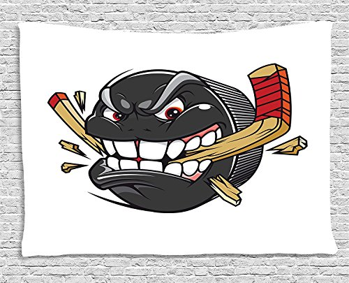 - Hockey Tapestry, Cartoon Hockey Puck Bites and Breaks Hockey Stick Championship Game Mascot Character, Wall Hanging for Bedroom Living Room Dorm, 80 W X 60 L Inches, Multicolor