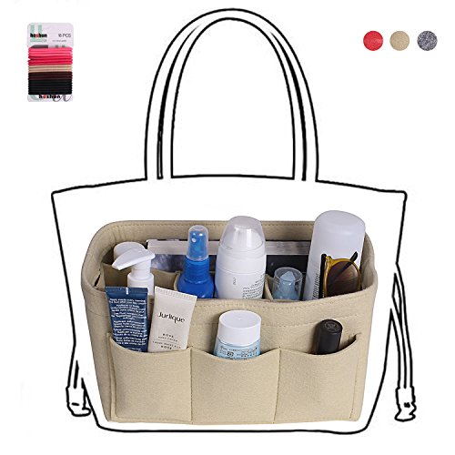 Felt fabric bag in bag purse organizer insert for handbags/tote (Medium, Beige) Beige Medium Tote Handbag