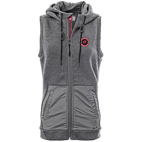 Levelwear LEY9R NCAA Wisconsin Badgers Women's Iris Banner Stripe Full Zip Hooded Vest, Medium, Heather Pebble