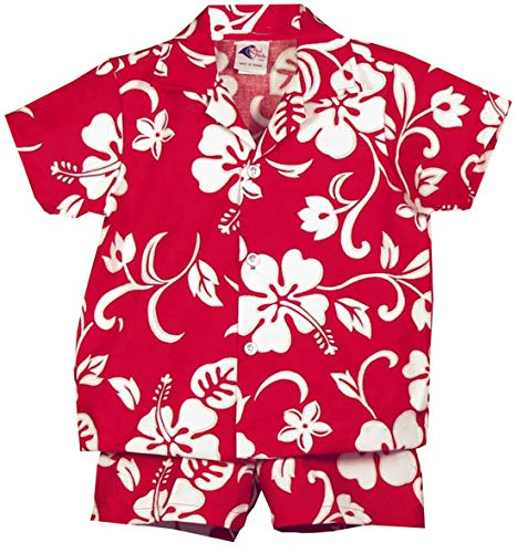 (RJC Boy's Classic Hibiscus 2pc Set, Red, 2T)