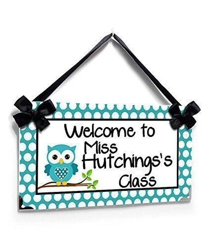 Sign for Teacher Classroom White Polka Dots with a Teal Owl