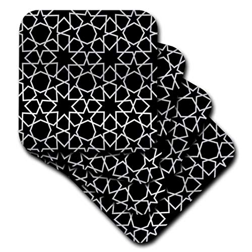 (3dRose CST_56723_1 Silver Stars Outline Geometric Intricate Islamic Art Pattern on Black-Filigree Laser Cut Effect-Soft Coasters, Set of 4)