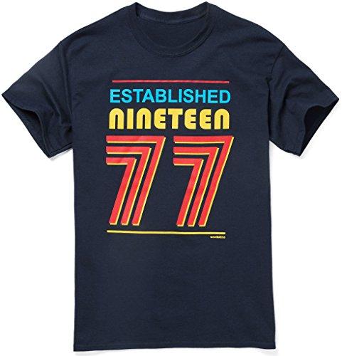 Established 1977 Mens 40th Birthday Gift T Shirt, Navy