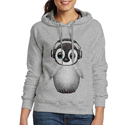 Cute Baby Penguin Dj Wearing Headphone Women's/Girl's Sport Leisure Slim Hoodies Ash
