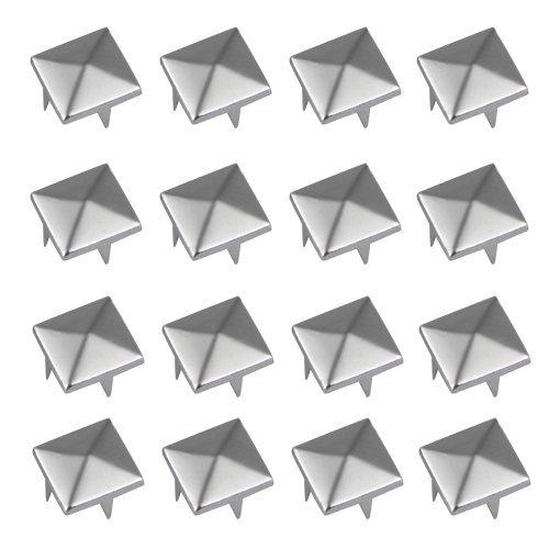 Silver Pyramid Studs - Vikeva 100 Silver 12mm Pyramid Studs Spots Punk Nailheads Spikes for Bag Shoes Bracelet
