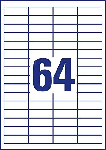 mit ultragrip, 48,5 x 16,9 mm auf DIN A4, Papier matt, bedruckbar, selbstklebend, 6.400 Klebeetiketten auf 100 Blatt wei/ß Avery Zweckform 3667 Universal Etiketten