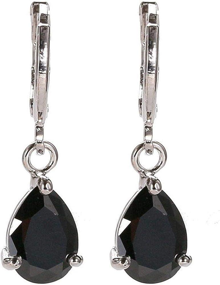 Pendientes colgantes de cristales de pera para mujer Pendientes de perlas de piedras preciosas de aguamarina muy pulidas Pendientes colgantes de diamantes en forma de lágrima Artesanía estética