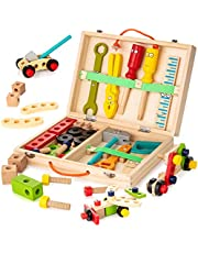 NEXKIT Toy Construction Tools,Wooden Tool Box with Pretend Play Tools,Building Toy Set Construction Toy for 3+ Years Kids