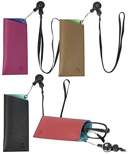 [4 PACK], JAVOedge 2 Tone Color Adjustable Neck Strap Soft Pouch Eyeglass Storage Case w/Microfiber Eyeglasses Cloth