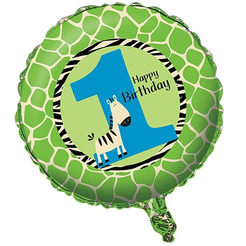 Two-Sided Mylar Foil Round Balloon, Wild at One (Baby Safari Boy Collection)