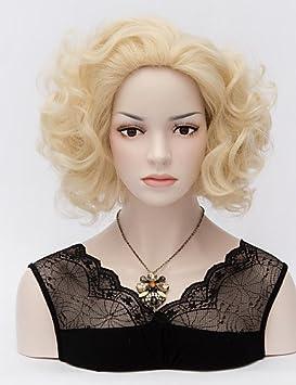 cortos monroe marilyn rizado pelucas rubias pálidas calor sexy rizos resistente peluca de cabello completa