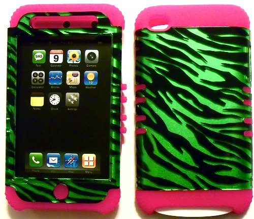(Green Zebra on Pink Silicone Skin for Apple ipod Touch iTouch 4G 4 Hybrid 2 in 1 Rubber Cover Hard Case)