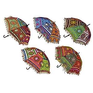 Ekam Art Sun Protection Rajasthani Umbrella Handicraft Walking Stick Umbrella 5 Pcs Navratri Decoration Items
