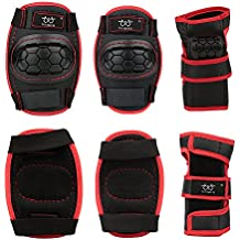2  item_name  Sports Protective Gear safety pad Safeguard (Knee Elbow Wrist) Support Pad Set equipment for Adult roller bicycle BMX bike skateboard extreme sports bogu protector Guards Pads (Black+Red, S)