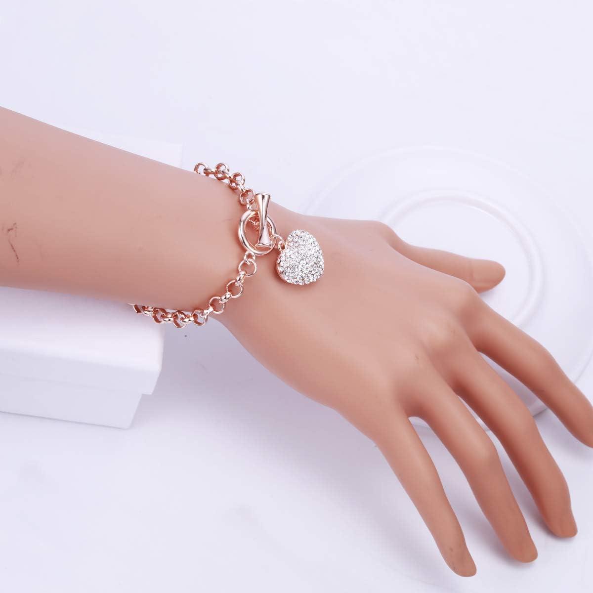 PJ Heart Crystal Charm Bracelet for Women Girls Toggle Clasp High Polished Trendy Love Heart-Shaped Link Chain Charms Bracelets Jewelry