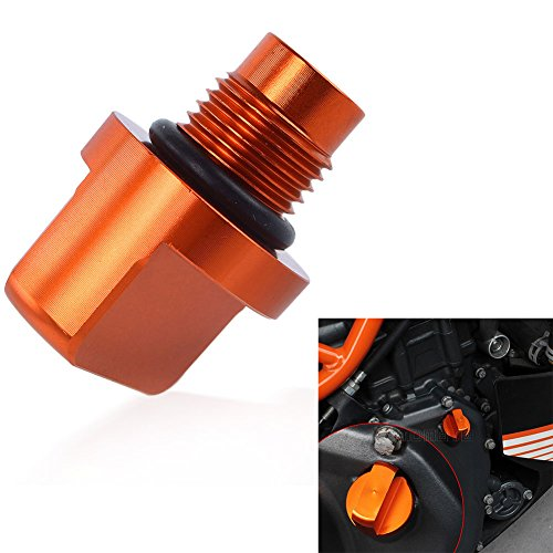 XX eCommerce Motorcycle Motorbike 1 pc Orange CNC Engine Magnetic Oil Fuel Filler Cap Drain Plug Bolt Nut Screw Tank Cover for KTM Duke 125 200 390 690 - Filter Cover Nut