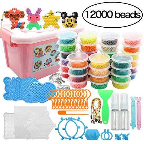 Beads Toy Water Fuse Beads Kit 12000 Pieces Magic Water Sticky Beads 36 Colors Water Spray Beads Set Compatible with Art Crafts Toys (Aqua Water Beads)