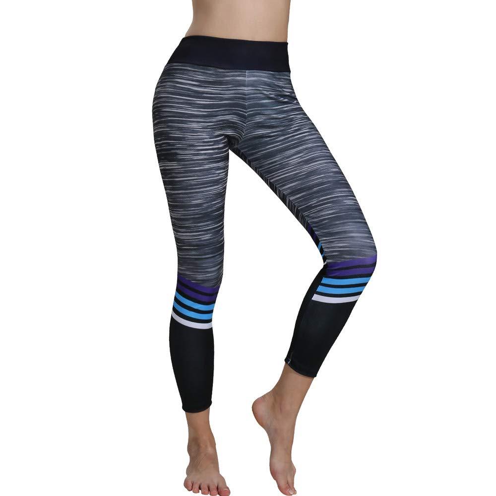 Mnyycxen Women Yoga Leggings Printed Sports Workout Gym Fitness Exercise Athletic Pants Soft Lightweight Running Pants Black