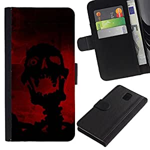 KingStore / Leather Etui en cuir / Samsung Galaxy Note 3 III / Riendo Evil Skull Skeleton