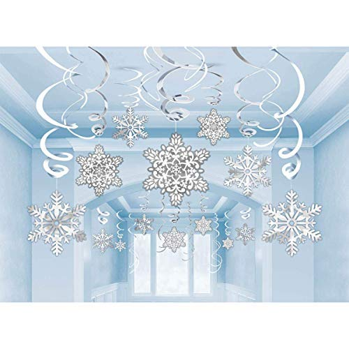 Cocobee Snowflake Ornaments White and Silver Snowflake Hanging Swirl Decorations Spiral Streamers for Home Shopping Mall Christmas Holiday Decoration Xmas Party Ceilinig Ornaments