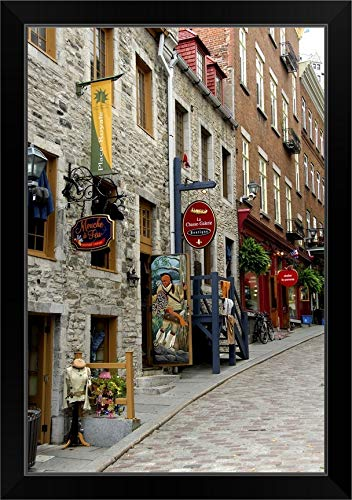 CANVAS ON DEMAND Canada, Quebec, Quebec City. Old Quebec, Narrow Shop Lined Streets Black Framed Art Print, 19