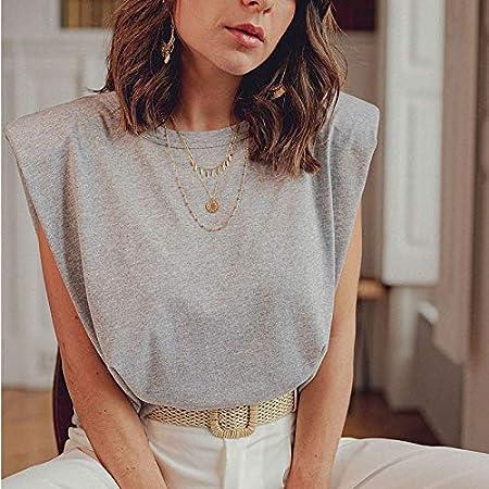 YOUCHOU Ladies shoulder pad T-shirt tops ladies T-shirts casual tops ladies summer sleeveless T-shirt