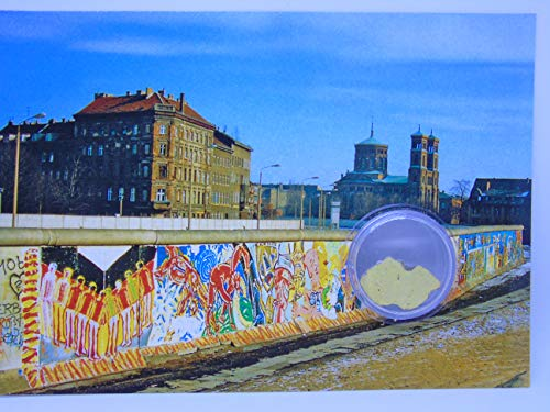 - POSTCARD WITH SMALL AUTHENTIC PIECE OF THE BERLIN WAL 'Wall art', Germany