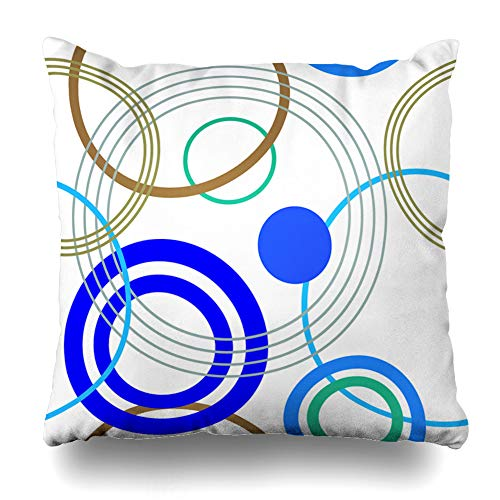 Ahawoso Throw Pillow Cover Bubble Beige Abstract Rings Retro Pattern Line Blue Circle Color Contrast Design Decorative Pillowcase Square Size 16