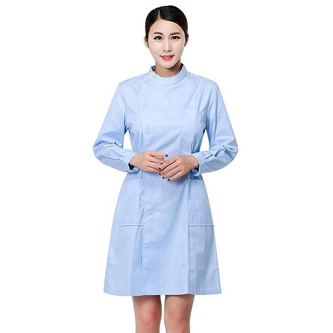 Jiyaru Bata de Laboratorio Médico Sanitaria Enfermera para Mujeres, Uniforme Médico, Ropa para Enfermera de Manga Larga Cómodos y Transpirables: Amazon.es: ...