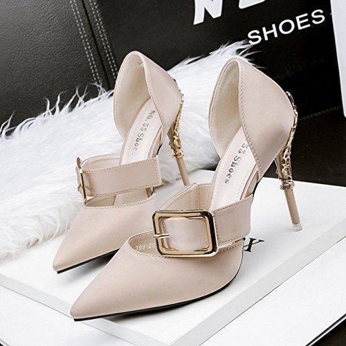 Zapatos de de ligera tacón sólido de color primavera alto Office verano tacón Zapatos de alto de tacón Street mujeres de de boca para Zapatos de de colo alto Apricot variedad Una de Botón Zapatos y metal moda 7BaRqUd7w