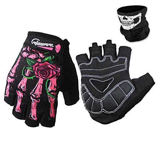 Cycling Gloves Mountain Bike Gloves Bicycle Riding Gloves Full Finger Workout Gloves Skeleton Gloves for Men and Women (Green, L) (Pink, L) -