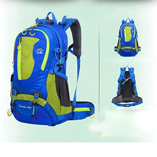 bolso de hombro del recorrido de gran capacidad genuina con el soporte de ocio mochila de viaje deportes al aire libre los hombres y mujeres del alpinismo 40L bolsas azul