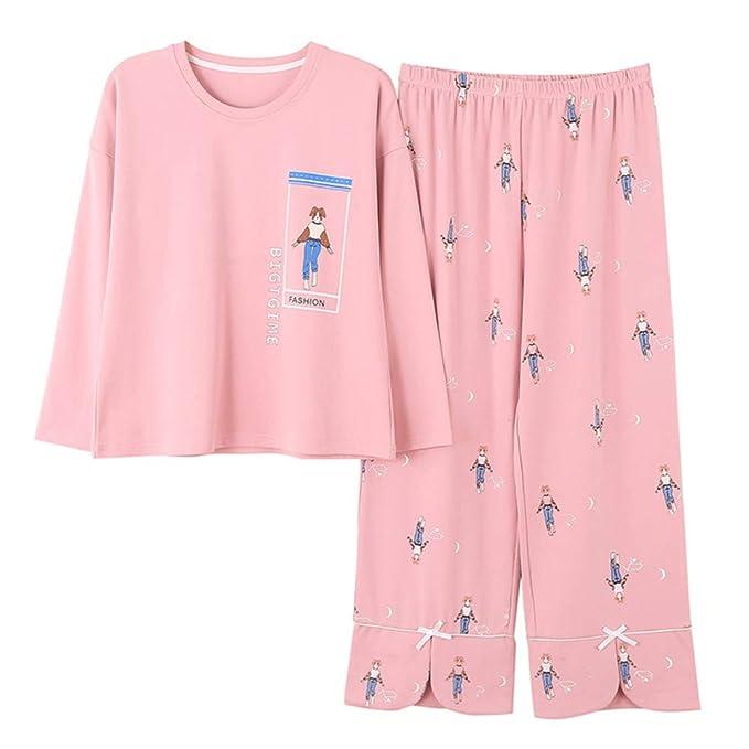 Meaeo Mangas Largas De Algodón De Otoño Pijamas De Gran Tamaño para Damas Conjuntos De Pijamas Ropa De Dormir Ropa De Dormir Camisón Ropa De Hogar: ...