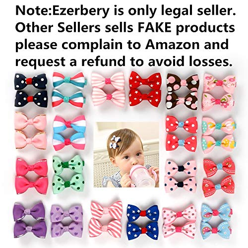 Ezepeo 40 pcs 1.8 Inches Baby Girls Ribbon Hair Bow Clips Printed Pattern Barrettes Hairpins Hair Accessories for Girl Teens Kids Babies Toddlers