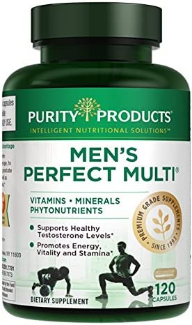 Men s Perfect Multi from Purity Products – Vitamins, Minerals and Phytonutrients – Supports Healthy Testosterone Levels and Promotes Energy, Vitality and Stamina – 120 Capsules
