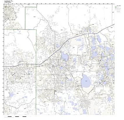 Amazon Com Lakeland Fl Zip Code Map Laminated Home Kitchen