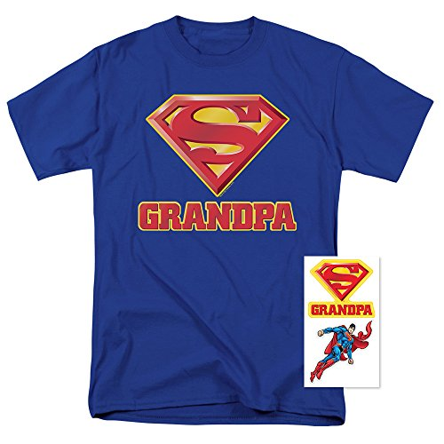 Superman Supergrandpa Logo T Shirt For Grandfathers & Exclusive Stickers (Large)