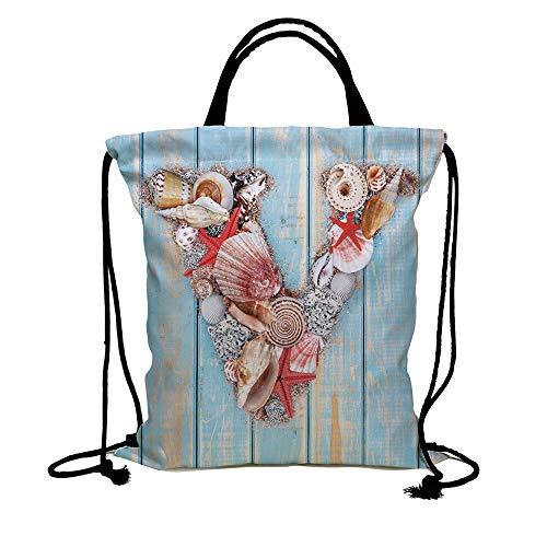 78d606ba96ce Galleon - 3D Print Drawstring Bag String Backpack,Letter V,Nautical ...