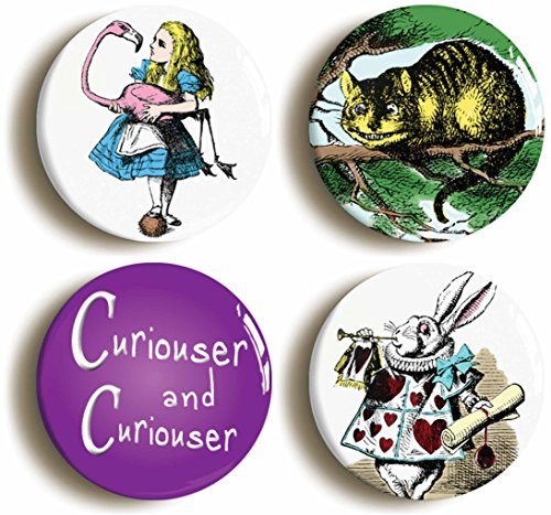 Mad Hatter Themed Costume Ideas (4 x Alice In Wonderland Pins Buttons (Size is 1inch Diameter) Cheshire Cat)