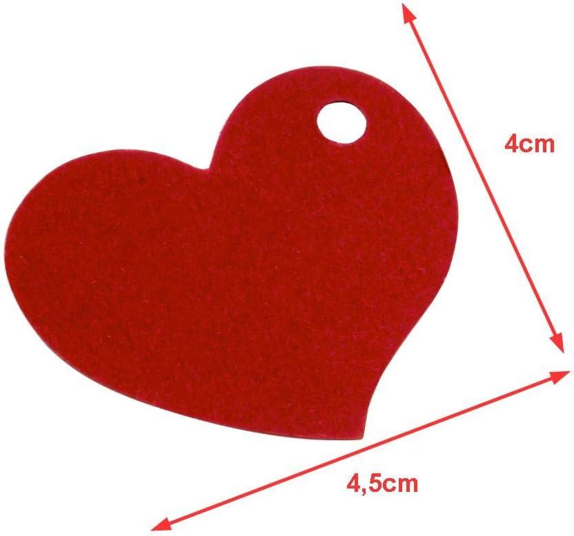 Lot de 50 pendentifs en forme de c/œur Pour colorier et scrapbooking invitation Cadeau de mariage 4,6 x 4,2 cm En papier rouge /Étiquette de gravure