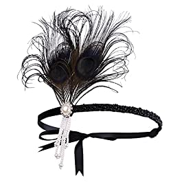 BABEYOND 1920s Flapper Headband Peacock Feather Headpiece Great Gatsby Headband 1920s Vintage Flapper Accessories with Bow and Tassel for Pageant Themed Party
